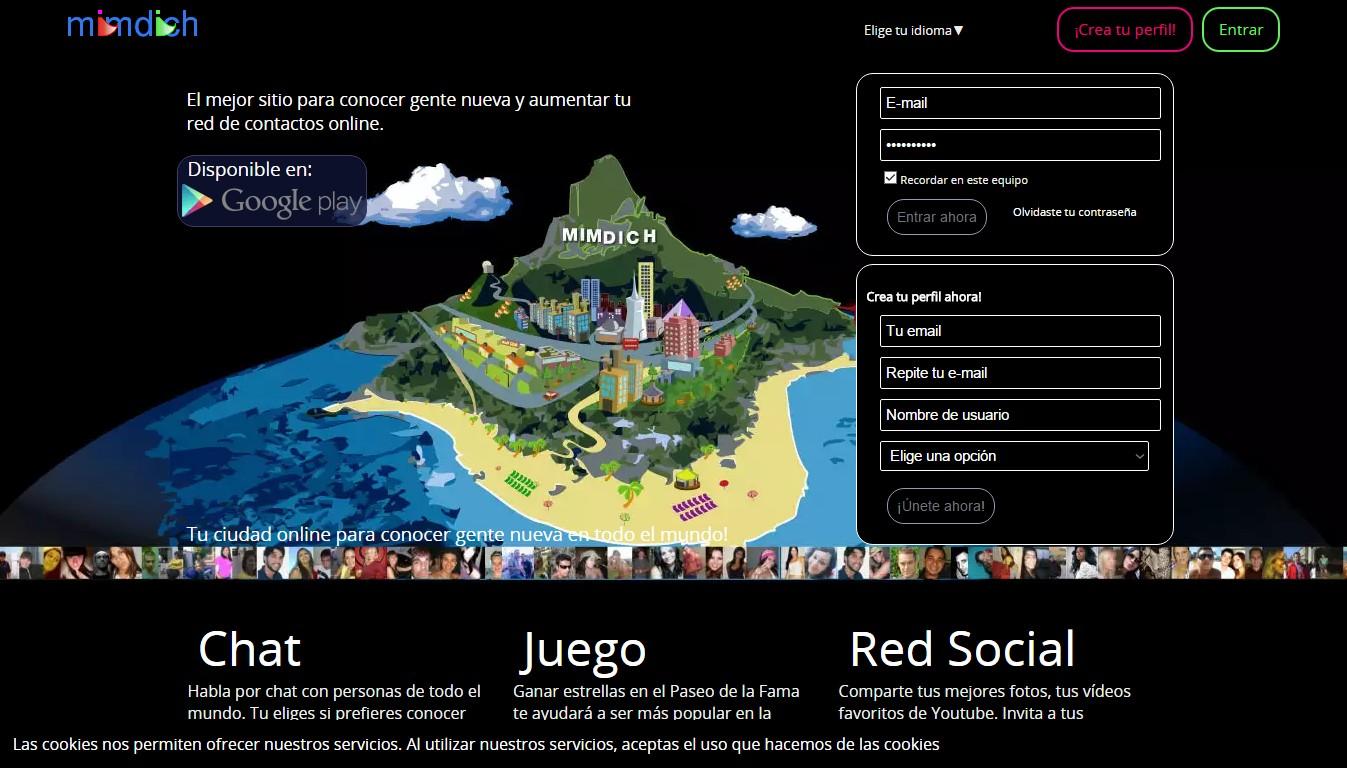 mimdich, chat, juego y red social para conocer gente nueva